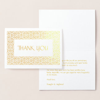 """Golden Elegance  All-Occasion """"Thank You"""" Foil Card"""