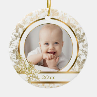 Golden Elegance Holiday Floral Photo Christmas Ornament