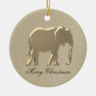 Golden Elephant Christmas Elegant Classy Simple Christmas Ornament