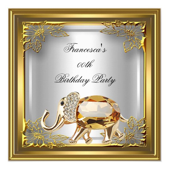 Golden Elephant Elite Elegant Birthday Party White Card