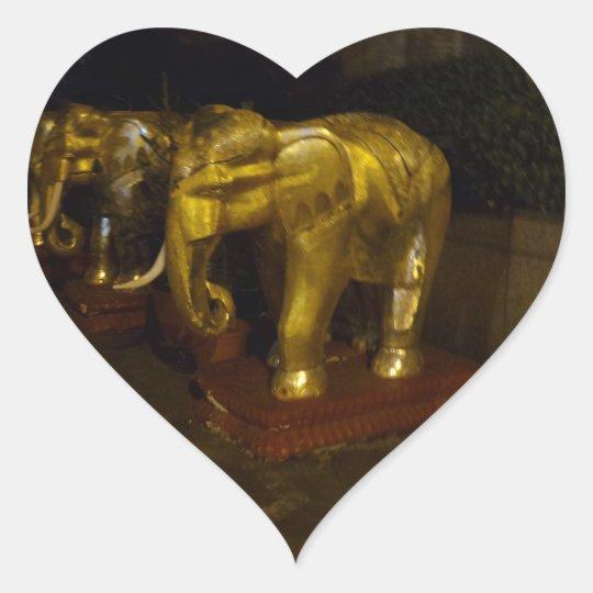 Golden Elephant Heart Sticker