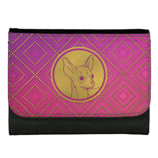 Golden Embossed Chihuahua on pink /purple Leather Wallet
