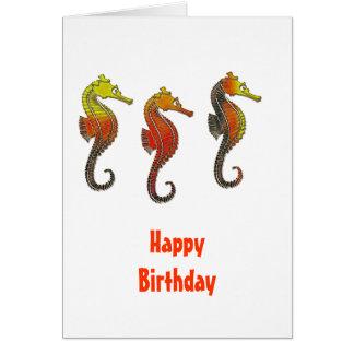 Golden Enameled Seahorse Card
