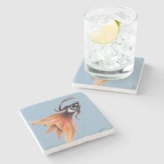 Golden Eye Surreal Goldfish Fantasy Art Any Color Stone Beverage Coaster