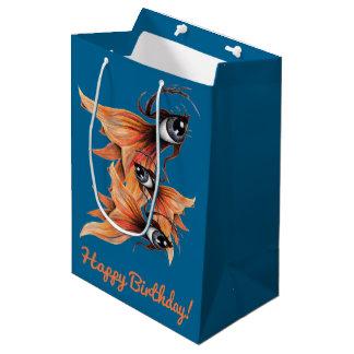 Golden Eye Surreal Goldfish Fantasy Art Birthday Medium Gift Bag
