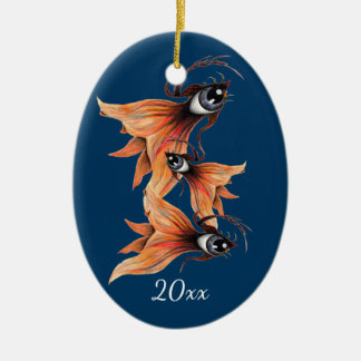 Golden Eye Surreal Goldfish Fantasy Art Custom Christmas Ornament