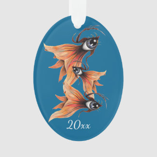 Golden Eye Surreal Goldfish Fantasy Art Custom Ornament