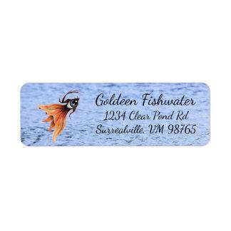 Golden Eye Surreal Goldfish Fantasy Art Custom Return Address Label