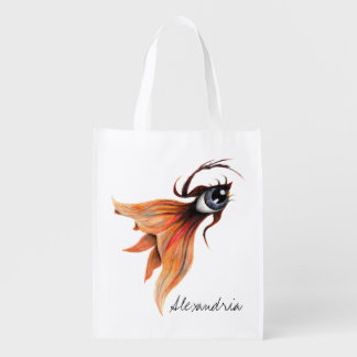 Golden Eye Surreal Goldfish Fantasy Art Custom Reusable Grocery Bag