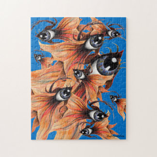 Golden Eye Surreal Goldfish Fantasy Art Tough Jigsaw Puzzle