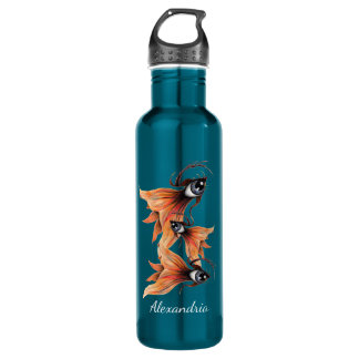 Golden Eye Surreal Goldfish Fantasy Art Your Name 710 Ml Water Bottle
