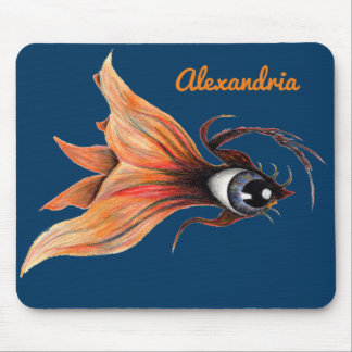 Golden Eye Surreal Goldfish Fantasy Art Your Name Mouse Mat