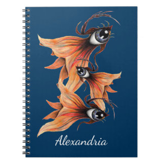 Golden Eye Surreal Goldfish Fantasy Art Your Name Spiral Notebook