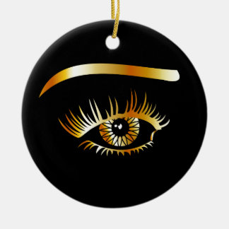 Golden eye with eyebrow and details inside christmas ornament