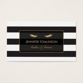 Golden Eyelashes with Black and White Stripes Business Card