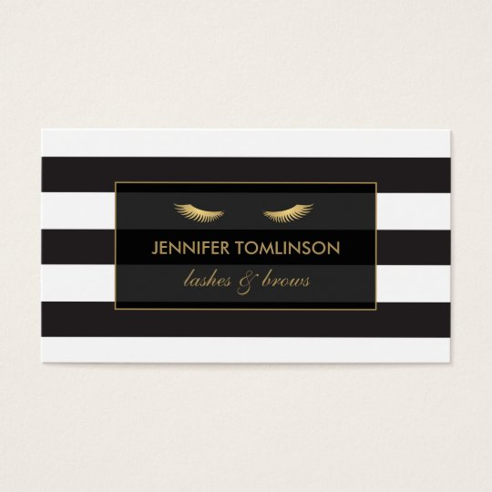 Golden Eyelashes with Black and White Stripes Business