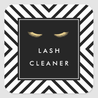 Golden Eyelashes with Mod Black and White Pattern Square Sticker