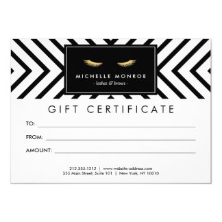 Golden Eyelashes with Pattern Gift Certificate 11 Cm X 16 Cm Invitation Card