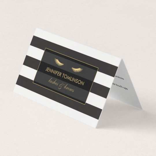 Golden Eyelashes with Stripes Aftercare Folded Business Card