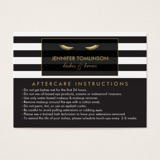 Golden Eyelashes with Stripes Lash Salon Aftercare Business