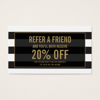 Golden Eyelashes with Stripes Referral Card
