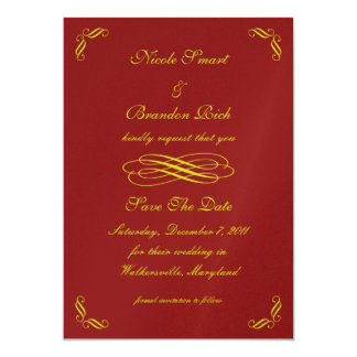 Golden Fairy Tale Save The Date (red) 13 Cm X 18 Cm Invitation Card