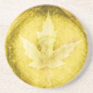 Golden Fall Glowing Leaf Beverage Coaster Drink Coasters