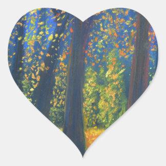 Golden Fall Heart Sticker