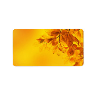 Golden Fall Leaves Background Label