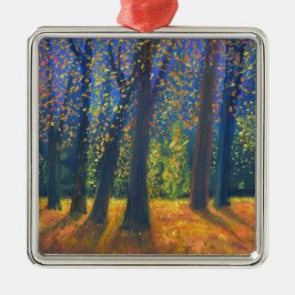 Golden Fall Silver-Colored Square Decoration