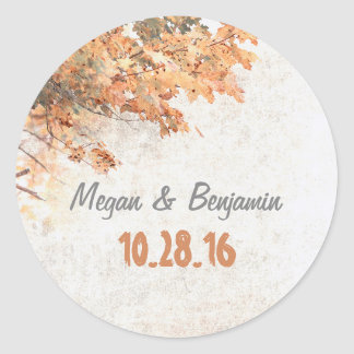 Golden Fall Tree Leaves Rustic Wedding Round Sticker