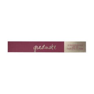 Golden Faux Foil Graduation return address Wrap Around Label