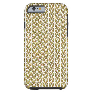 Golden Faux Glitter Chevrons Knit Pattern Print Tough iPhone 6 Case