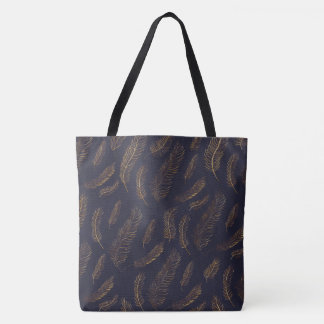 Golden Feather Tote Bag