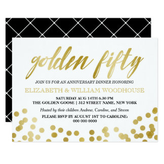 Golden Fifty Confetti   50th Anniversary Dinner Card