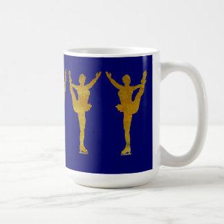 Golden Figure Skaters Spinning Basic White Mug