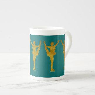 Golden Figure Skaters Spinning Bone China Mug
