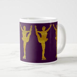 Golden Figure Skaters Spinning Jumbo Mug