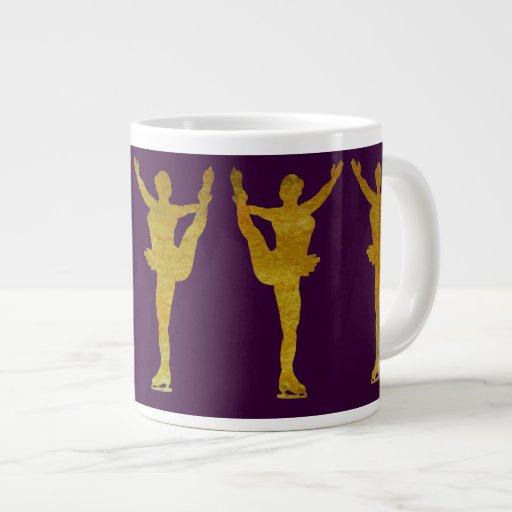Golden Figure Skaters Spinning Extra Large Mugs