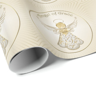 Golden Filigree Christmas Angel of Grace Pattern Wrapping Paper