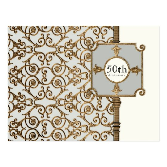 Golden Filigree, Grey - 50th Anniversary Postcard
