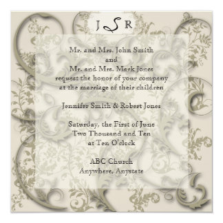 Golden Filigree Wedding Invitation