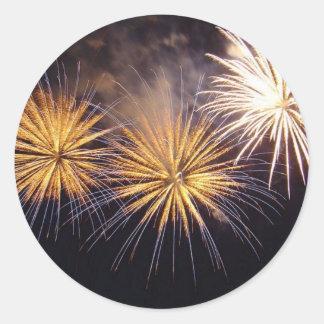 Golden Fireworks Round Sticker