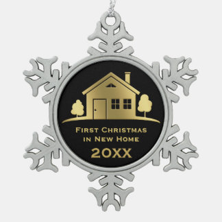 Golden First Christmas in New Home 20XX Snowflake Pewter Christmas Ornament