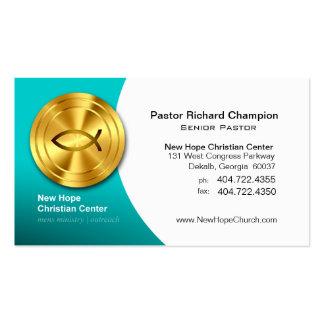 Golden Fish IXOYE Christian Symbol Minister/Pastor Pack Of Standard Business Cards