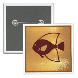 Golden Fish Marinelife Sea - Medal Icon Gold Base 15 Cm Square Badge