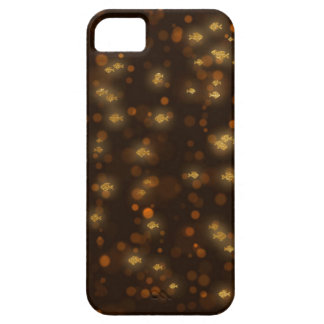Golden Fishes Confetti Black Bokeh Case For The iPhone 5