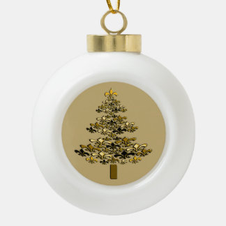 Golden Fleur de Lis Christmas Tree on Champagne Ceramic Ball Decoration