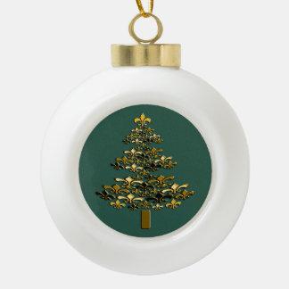 Golden Fleur de Lis Christmas Tree on Rich Green Ceramic Ball Decoration
