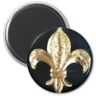 GOLDEN FLEUR DE LIS ON BLACK MAGNET
